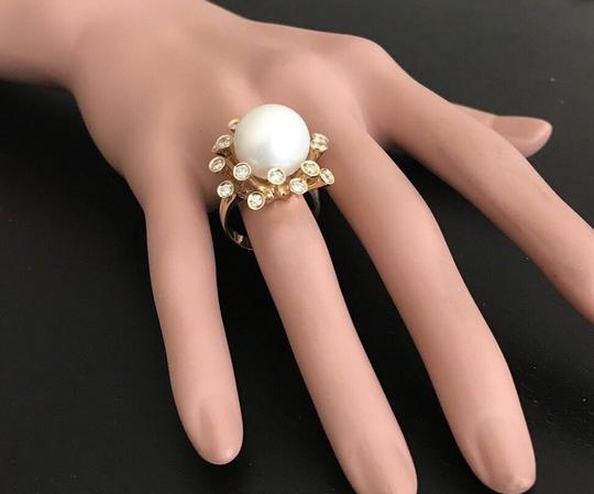 Other Splendid Natural 15mm South Sea Pearl & Diamond 14K Solid Yellow Gold Image 6