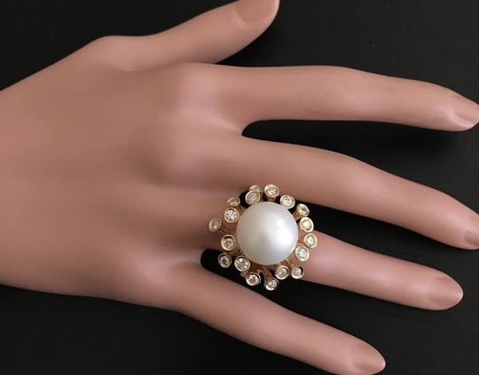 Other Splendid Natural 15mm South Sea Pearl & Diamond 14K Solid Yellow Gold Image 7