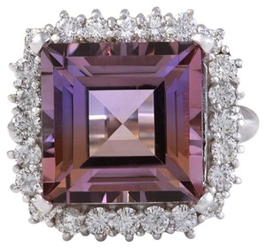 Other 13.45 Carats Natural Ametrine and Diamond 14K Solid White Gold Ring