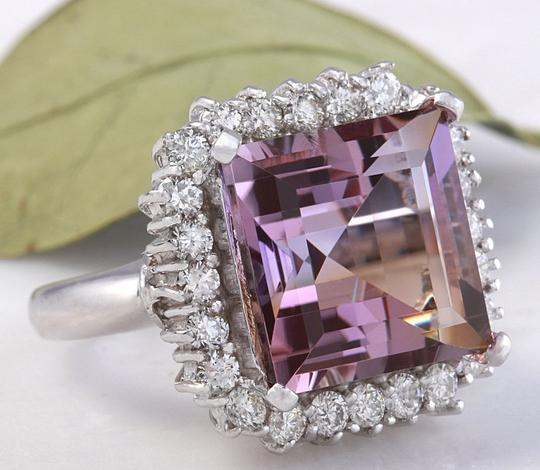 Other 13.45 Carats Natural Ametrine and Diamond 14K Solid White Gold Ring Image 1