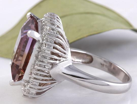 Other 13.45 Carats Natural Ametrine and Diamond 14K Solid White Gold Ring Image 4
