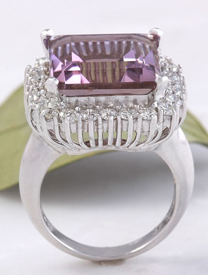 Other 13.45 Carats Natural Ametrine and Diamond 14K Solid White Gold Ring Image 7