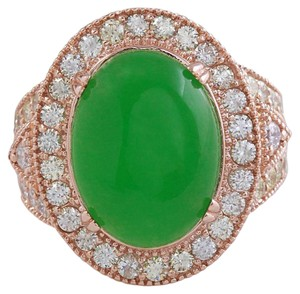 Other 11.00Ct NATURAL JADE JADEITE and DIAMOND 14K Solid Rose Gold Ring