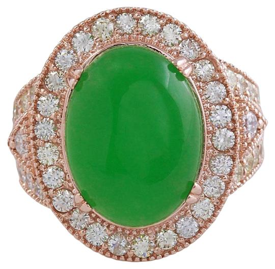 Other 11.00Ct NATURAL JADE JADEITE and DIAMOND 14K Solid Rose Gold Ring Image 0