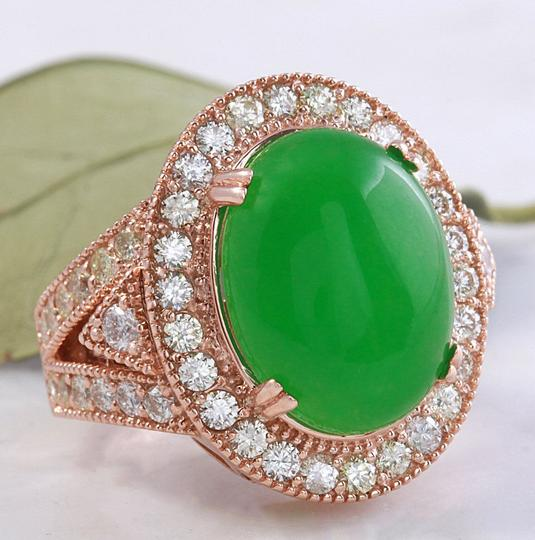 Other 11.00Ct NATURAL JADE JADEITE and DIAMOND 14K Solid Rose Gold Ring Image 1
