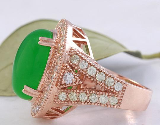 Other 11.00Ct NATURAL JADE JADEITE and DIAMOND 14K Solid Rose Gold Ring Image 2