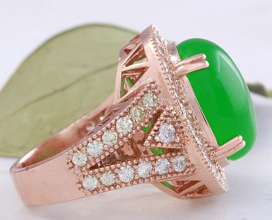 Other 11.00Ct NATURAL JADE JADEITE and DIAMOND 14K Solid Rose Gold Ring Image 3
