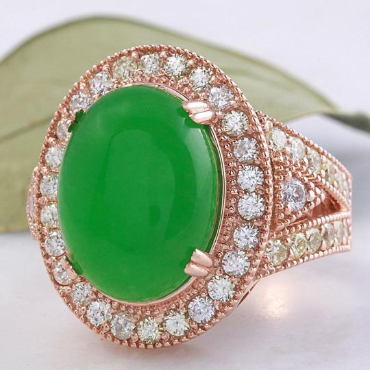 Other 11.00Ct NATURAL JADE JADEITE and DIAMOND 14K Solid Rose Gold Ring Image 4