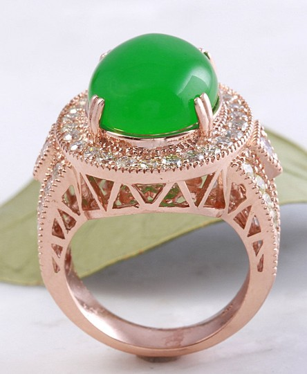Other 11.00Ct NATURAL JADE JADEITE and DIAMOND 14K Solid Rose Gold Ring Image 6