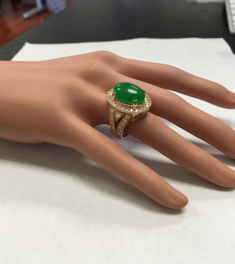 Other 11.00Ct NATURAL JADE JADEITE and DIAMOND 14K Solid Rose Gold Ring Image 7