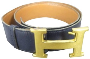 Hermès Blue x Brown Reversible 32mm H Logo Belt Kit 228660