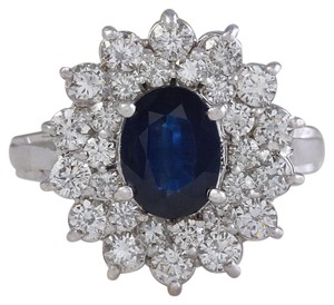 Other 2.70Ct Natural Blue Sapphire & Diamond 14K Solid White Gold Ring