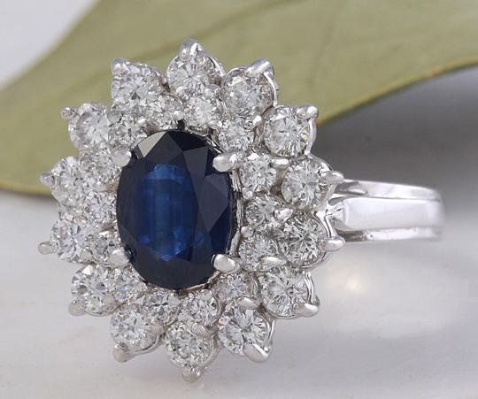 Other 2.70Ct Natural Blue Sapphire & Diamond 14K Solid White Gold Ring Image 1