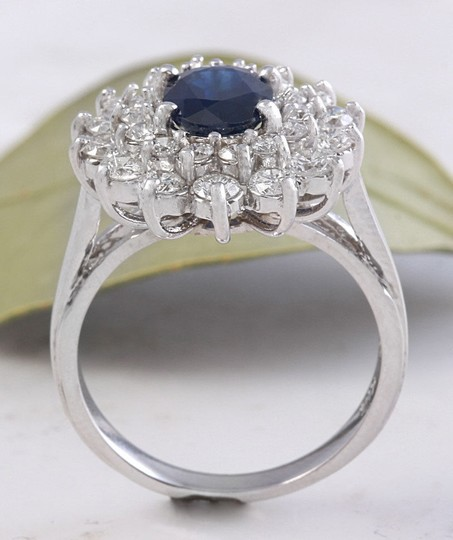 Other 2.70Ct Natural Blue Sapphire & Diamond 14K Solid White Gold Ring Image 4