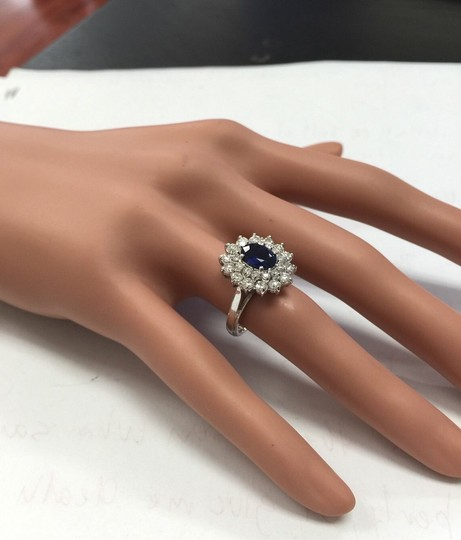 Other 2.70Ct Natural Blue Sapphire & Diamond 14K Solid White Gold Ring Image 5
