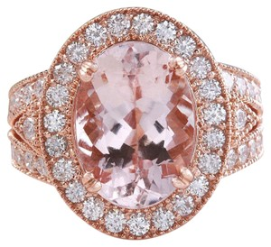 Other 7.50 Carats Natural Morganite and Diamond 14K Solid Rose Gold Ring