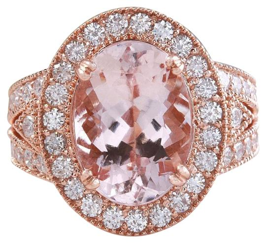 Other 7.50 Carats Natural Morganite and Diamond 14K Solid Rose Gold Ring Image 0