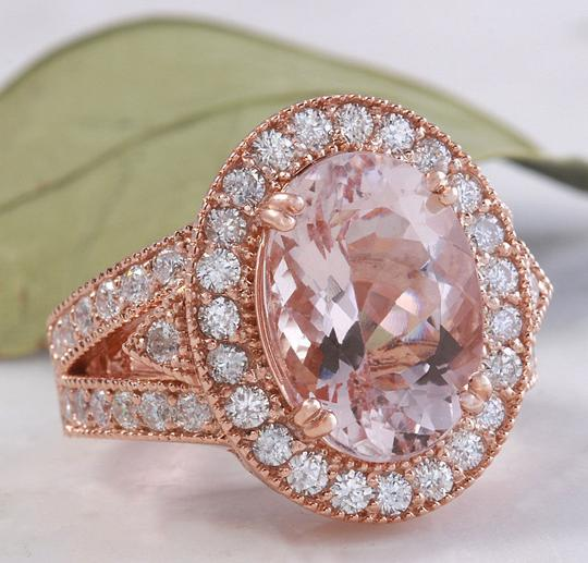 Other 7.50 Carats Natural Morganite and Diamond 14K Solid Rose Gold Ring Image 1