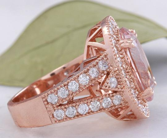 Other 7.50 Carats Natural Morganite and Diamond 14K Solid Rose Gold Ring Image 2
