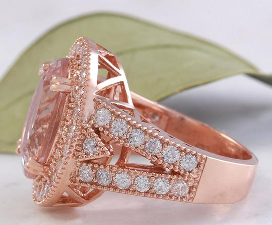 Other 7.50 Carats Natural Morganite and Diamond 14K Solid Rose Gold Ring Image 3