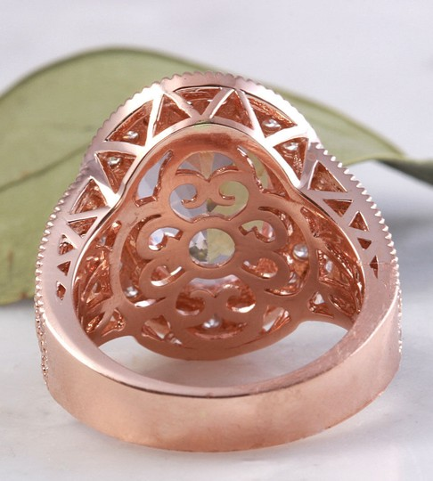 Other 7.50 Carats Natural Morganite and Diamond 14K Solid Rose Gold Ring Image 4