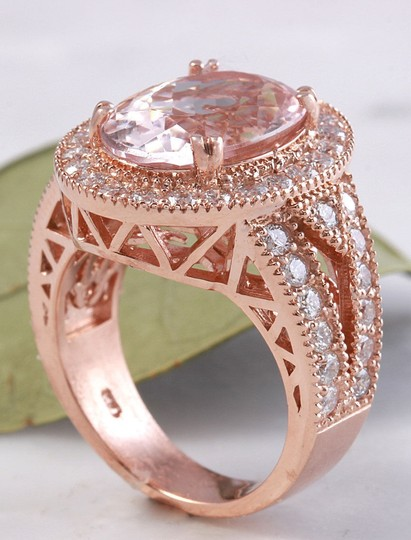 Other 7.50 Carats Natural Morganite and Diamond 14K Solid Rose Gold Ring Image 5