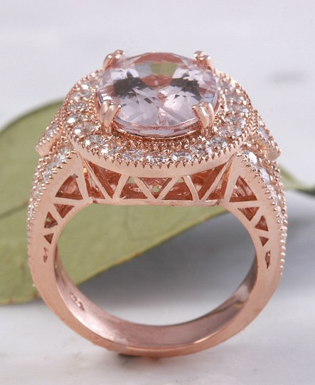 Other 7.50 Carats Natural Morganite and Diamond 14K Solid Rose Gold Ring Image 6