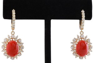 Other 8.40 Carats Natural Red CORAL & DIAMOND 14K Solid Yellow Gold Earrings