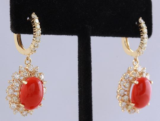 Other 8.40 Carats Natural Red CORAL & DIAMOND 14K Solid Yellow Gold Earrings Image 1