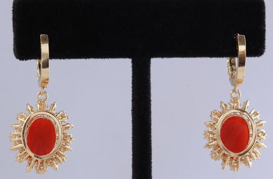 Other 8.40 Carats Natural Red CORAL & DIAMOND 14K Solid Yellow Gold Earrings Image 2