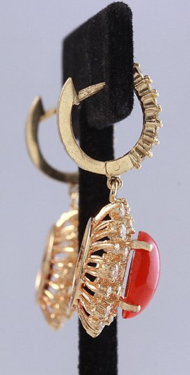 Other 8.40 Carats Natural Red CORAL & DIAMOND 14K Solid Yellow Gold Earrings Image 3