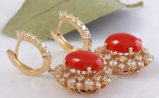 Other 8.40 Carats Natural Red CORAL & DIAMOND 14K Solid Yellow Gold Earrings Image 4