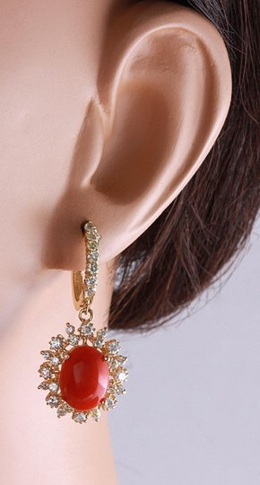 Other 8.40 Carats Natural Red CORAL & DIAMOND 14K Solid Yellow Gold Earrings Image 6