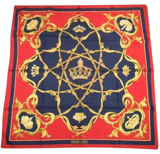 Preload https://img-static.tradesy.com/item/23443836/hermes-red-gold-blue-vintage-1960-couronnes-silk-scarfwrap-0-1-540-540.jpg