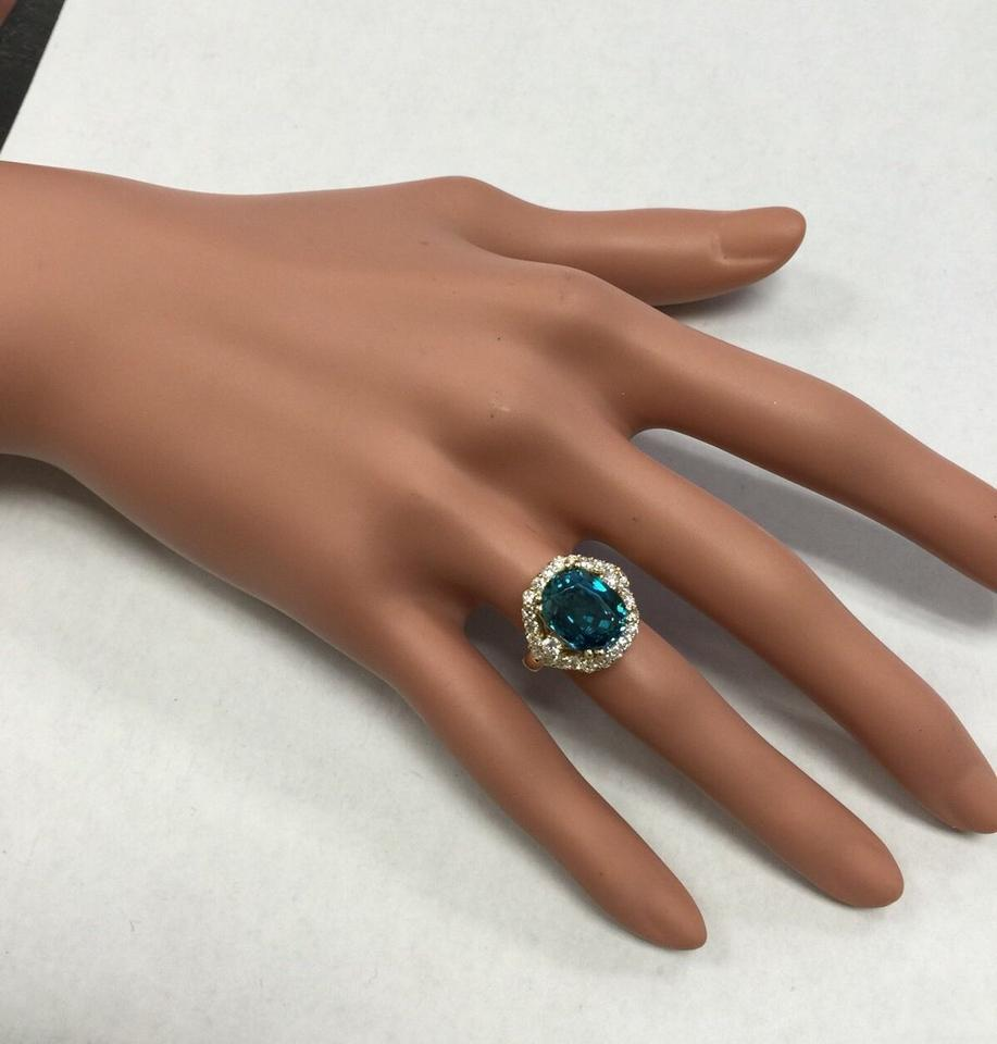 Yellow Gold 870 Carats Natural Blue Zircon And Diamond 14k Solid Ring