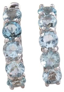 Other 2.40 Carats Natural Aquamarine 14k Solid White Gold Huggie Earrings