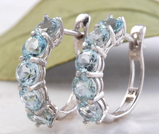 Other 2.40 Carats Natural Aquamarine 14k Solid White Gold Huggie Earrings Image 1