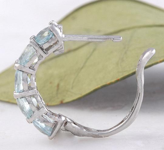 Other 2.40 Carats Natural Aquamarine 14k Solid White Gold Huggie Earrings Image 2