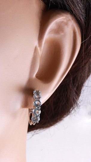 Other 2.40 Carats Natural Aquamarine 14k Solid White Gold Huggie Earrings Image 4