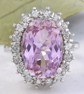 Other 12.02 Carat Natural Pink Kunzite and Diamond 14K Solid White Gold Ring