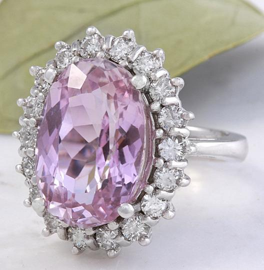 Other 12.02 Carat Natural Pink Kunzite and Diamond 14K Solid White Gold Ring Image 1