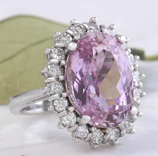 Other 12.02 Carat Natural Pink Kunzite and Diamond 14K Solid White Gold Ring Image 3
