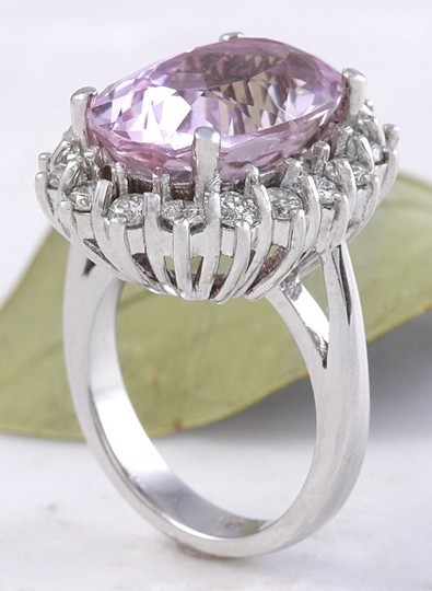 Other 12.02 Carat Natural Pink Kunzite and Diamond 14K Solid White Gold Ring Image 6