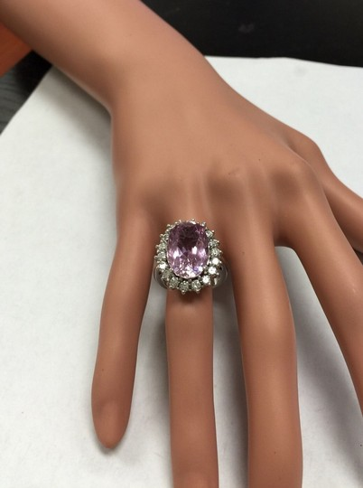Other 12.02 Carat Natural Pink Kunzite and Diamond 14K Solid White Gold Ring Image 8