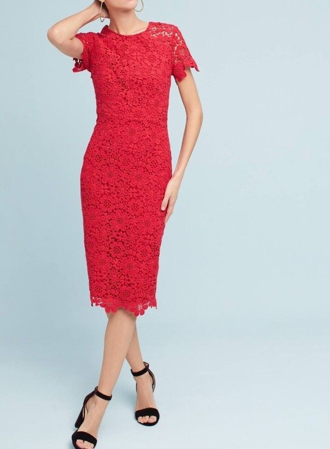 Item - Red Shoshanna Laced Column Mid-length Night Out Dress Size 4 (S)