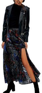 Free People Fp New Romantics Wedding Guest Boho Bell Sleeve Ruffle Long Gown Bohemian Festival Maxi Skirt Blue Black Multicolor Embroidered