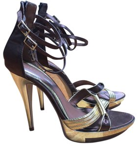 Liliana Chocolate Brown and Gold Platforms