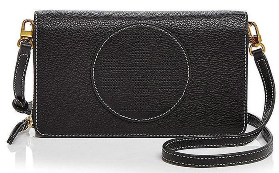 3bc8704936d6 Tory Burch Perforated Logo Flat Wallet Black Leather Cross Body Bag ...