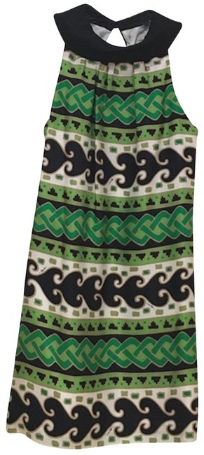 Milly of New York Green White Tan Black Tribal Short Cocktail Dress Size 4 (S) Milly of New York Green White Tan Black Tribal Short Cocktail Dress Size 4 (S) Image 1