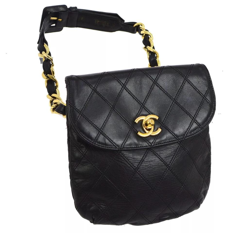 2dfba16a1eaffd Chanel Waist Bag Mini Quilted Bum Fanny Pack Belt Black Lambskin Leather  Clutch